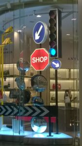 Anya Hindmarch street signs in London Westfiled